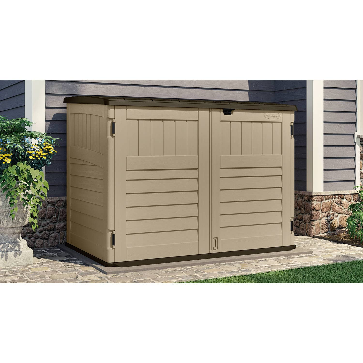 Suncast toter trash can shed sand 70 cu ft 188 75 free instore pickup