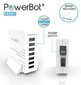 PowerBot® PB5007 Ultra High-Performance 60W 12A 7USB Port Smart Quick Rapid Charger $6.99 AC at Amazon FS prime