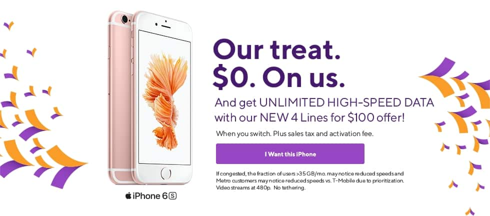 Metro by Tmobile Free iPhone 6s when you switch  Also Stylo