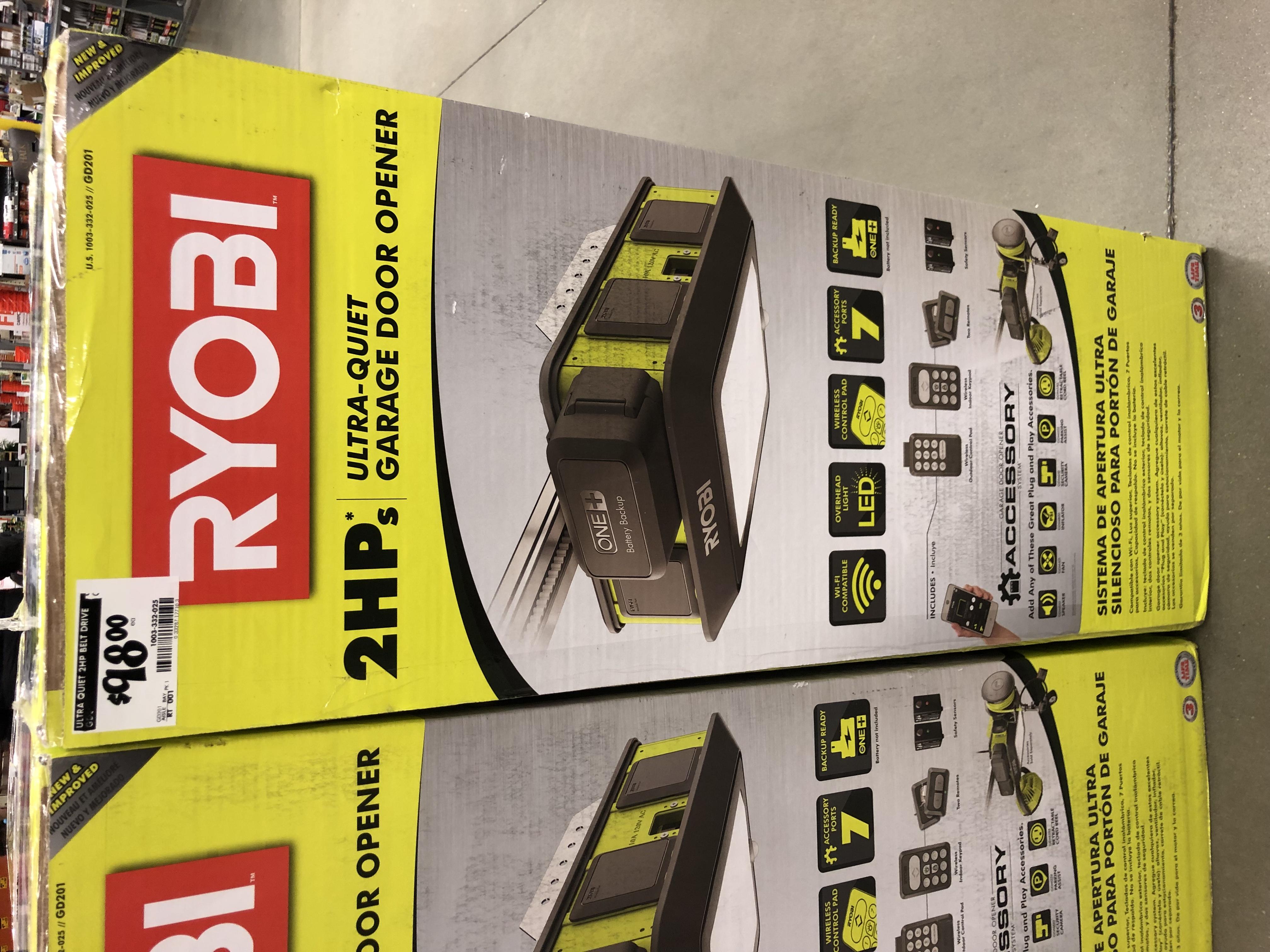 Ryobi Ultra-Quiet 2 HP Belt Drive Garage Door Opener - IN STORE ONLY Home Depot $98 *YMMV Deal*