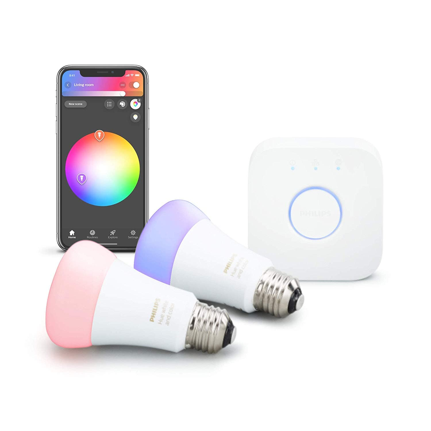 Philips Hue 2-Pack Premium Smart Light Starter Kit, With Hub 16