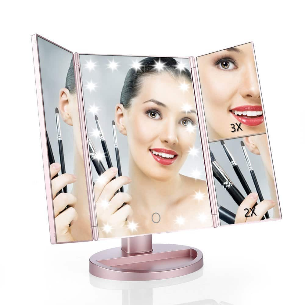 Tri-fold Vanity Mirror with Adjustable Lights 2X/3X Magnifiers only $12.64 AC FS w/ Amazon Prime $12.83