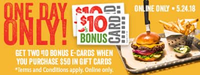Chili's Giftcard buy $50 get two $10 dollar gift cards. Online only