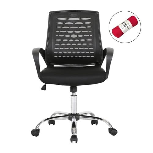Mid Back Mesh Swivel Task Chair with a soft polyester fleece throw $39.99