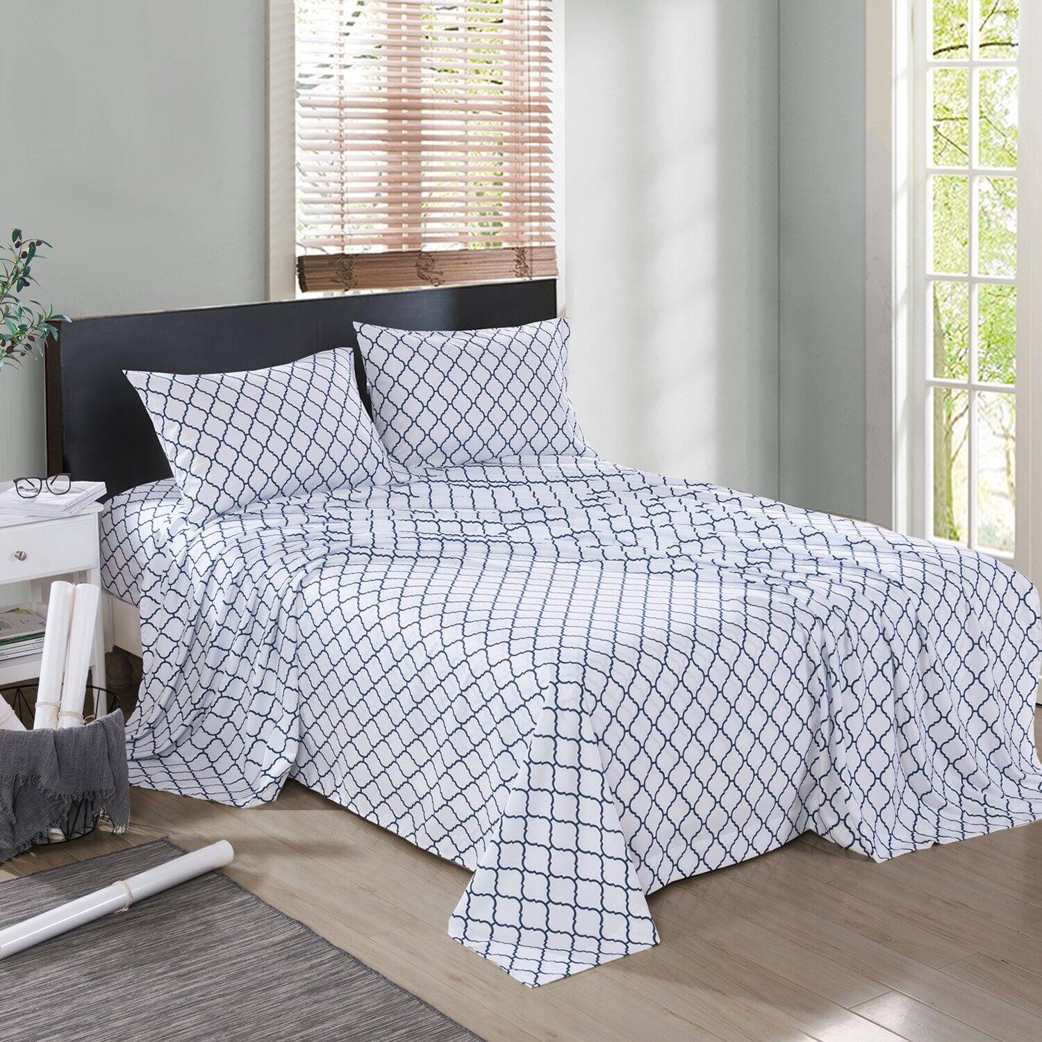Collection 4 Pieces Ultra Soft Printed Bed Sheet Sets(various color and sizes) from $12.59