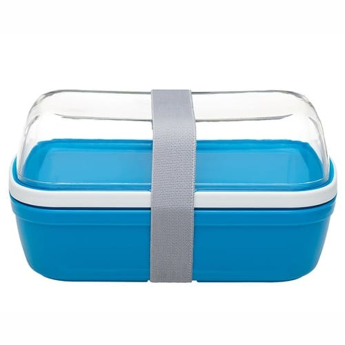 Save upto 50% Off Now - Lunch Box with Leakproof Lid, Personalizable Divider & Matching Cutlery - Removable Clear Liner Becomes Upper Fruit Bowl [Blue] $9.99