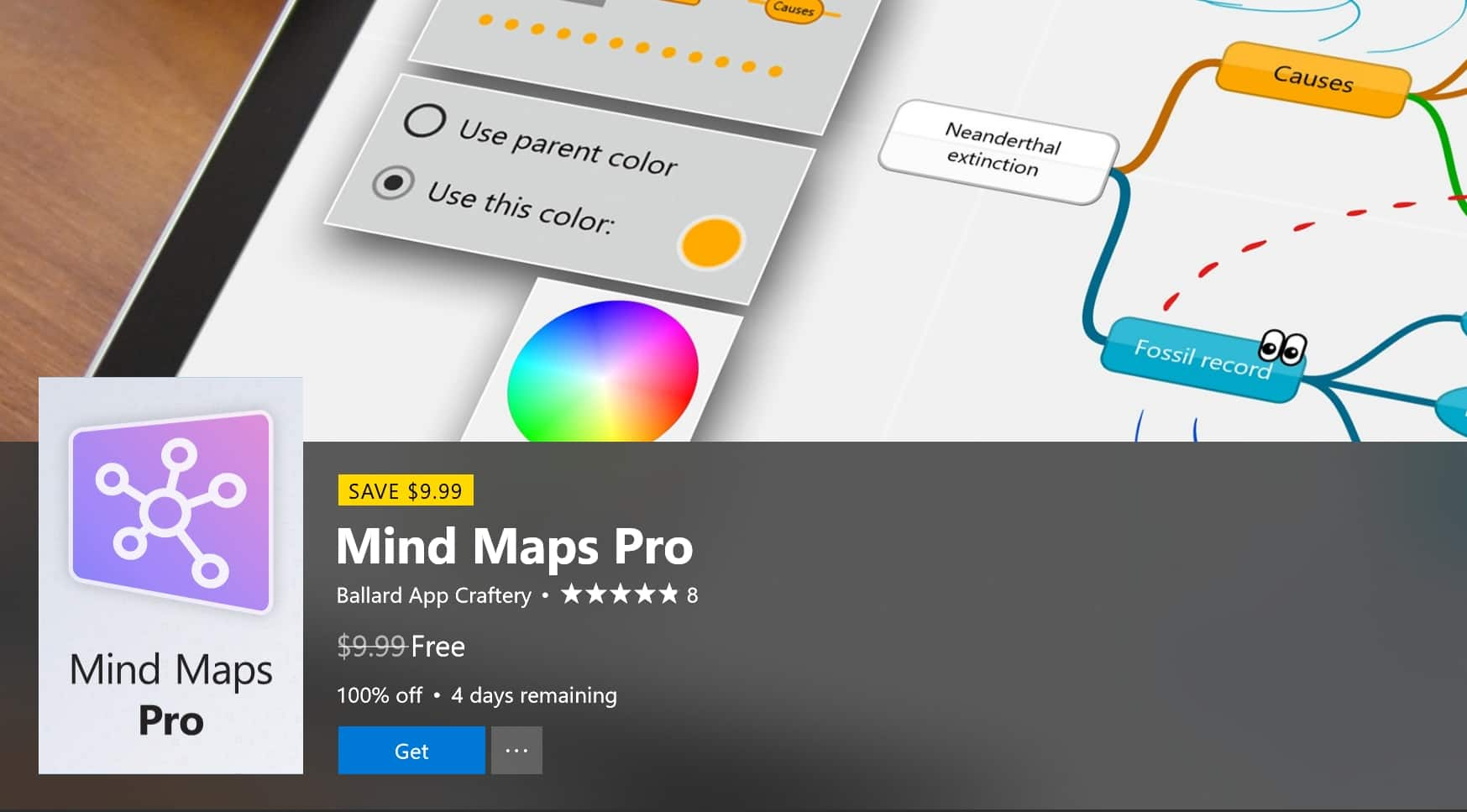 Mind Maps Pro on sale for $0 on the Microsoft Store