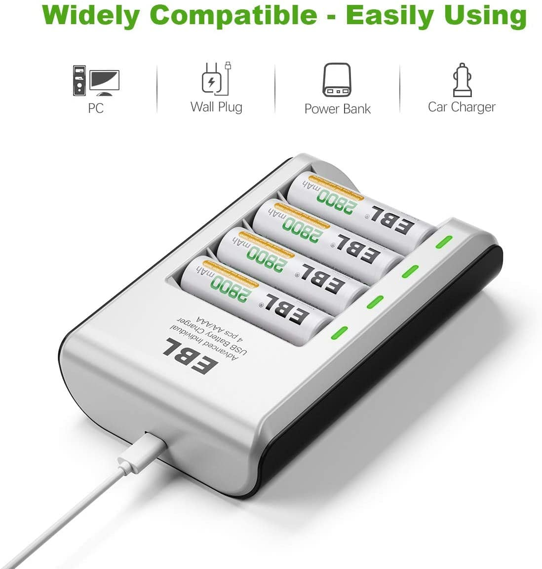 8 AAA rechargeable batteries 1,100mAh with Smart Battery Charger $13.59 on Amazon from EBL