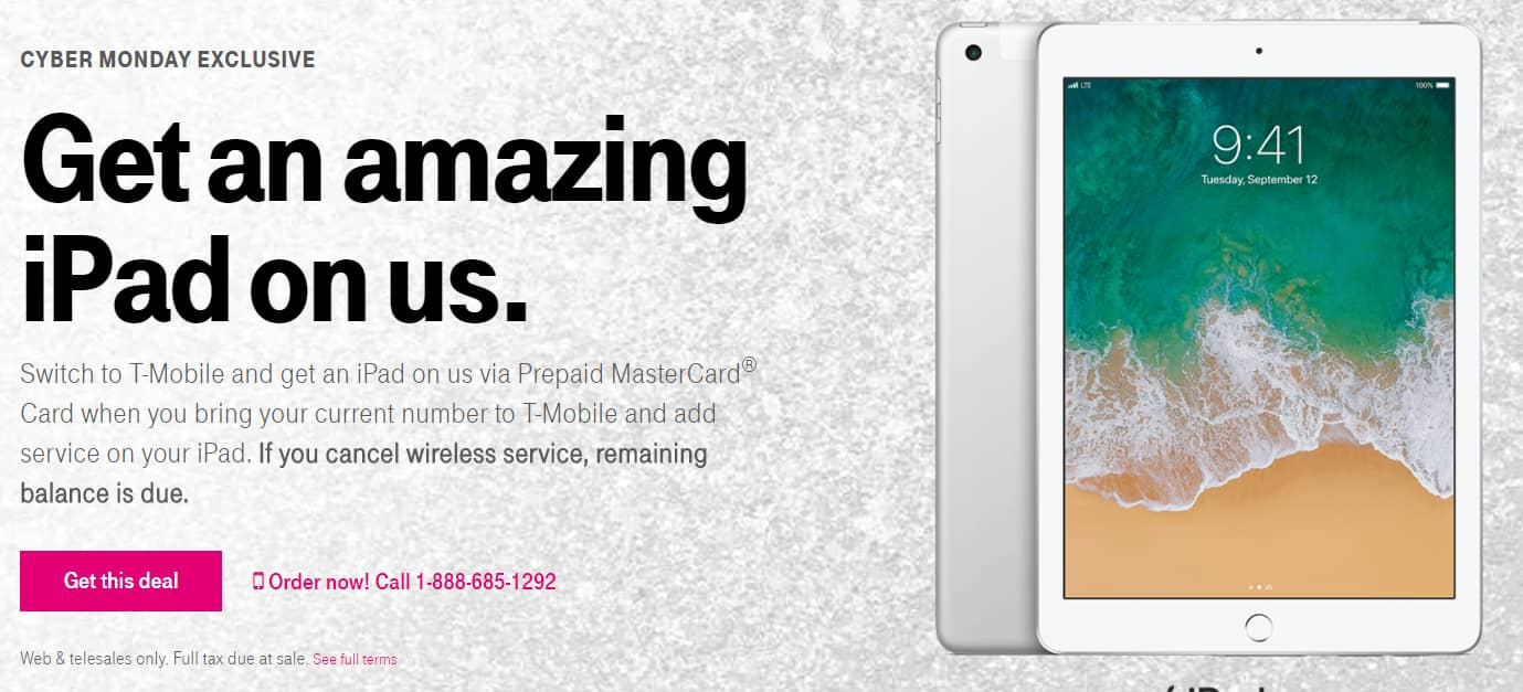 T-Mobile Cyber Monday : Switch to T-Mobile and get an iPad on us via Prepaid MasterCard