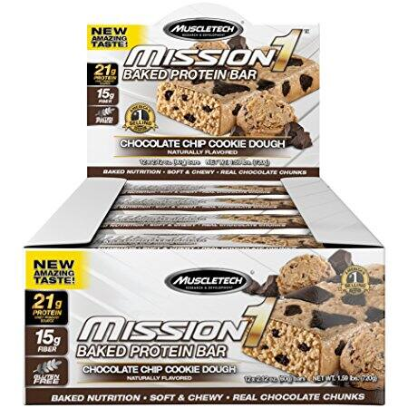 Muscletech Mission1 Protein Bars - Chocolate Chip Cookie Dough - 12ct $9.99 or less w/S&S