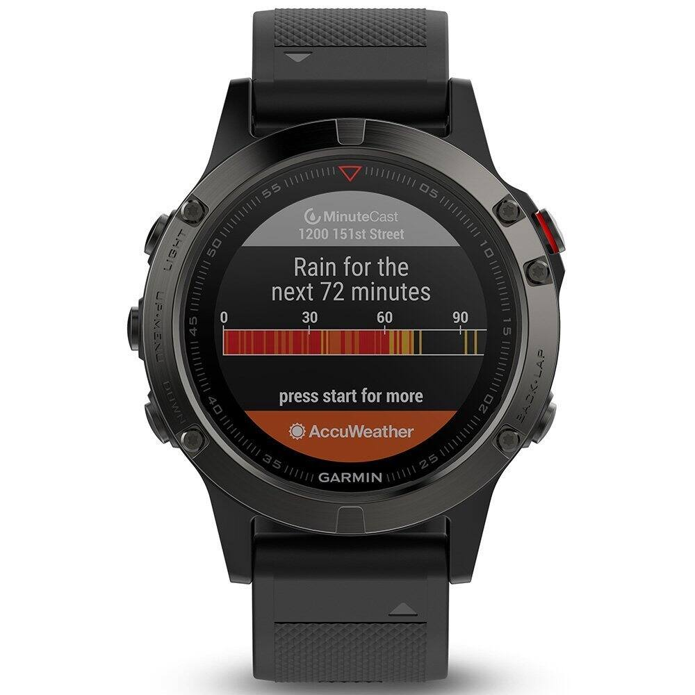 Garmin fēnix 5, Premium and Rugged Multisport GPS Smartwatch, Slate Gray with Black Band, Renewed [Watch Only (Refurbished)] $249