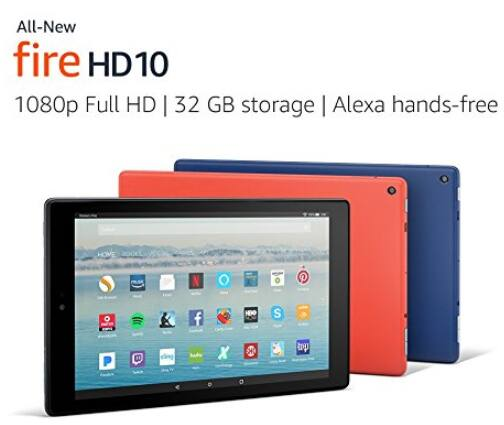 "All-New Fire HD 10 Tablet with Alexa Hands-Free, 10.1"" 1080p Full HD Display, 32 GB, Black - with Special Offers [Black, With Special Offers, 32 GB] $119.99"