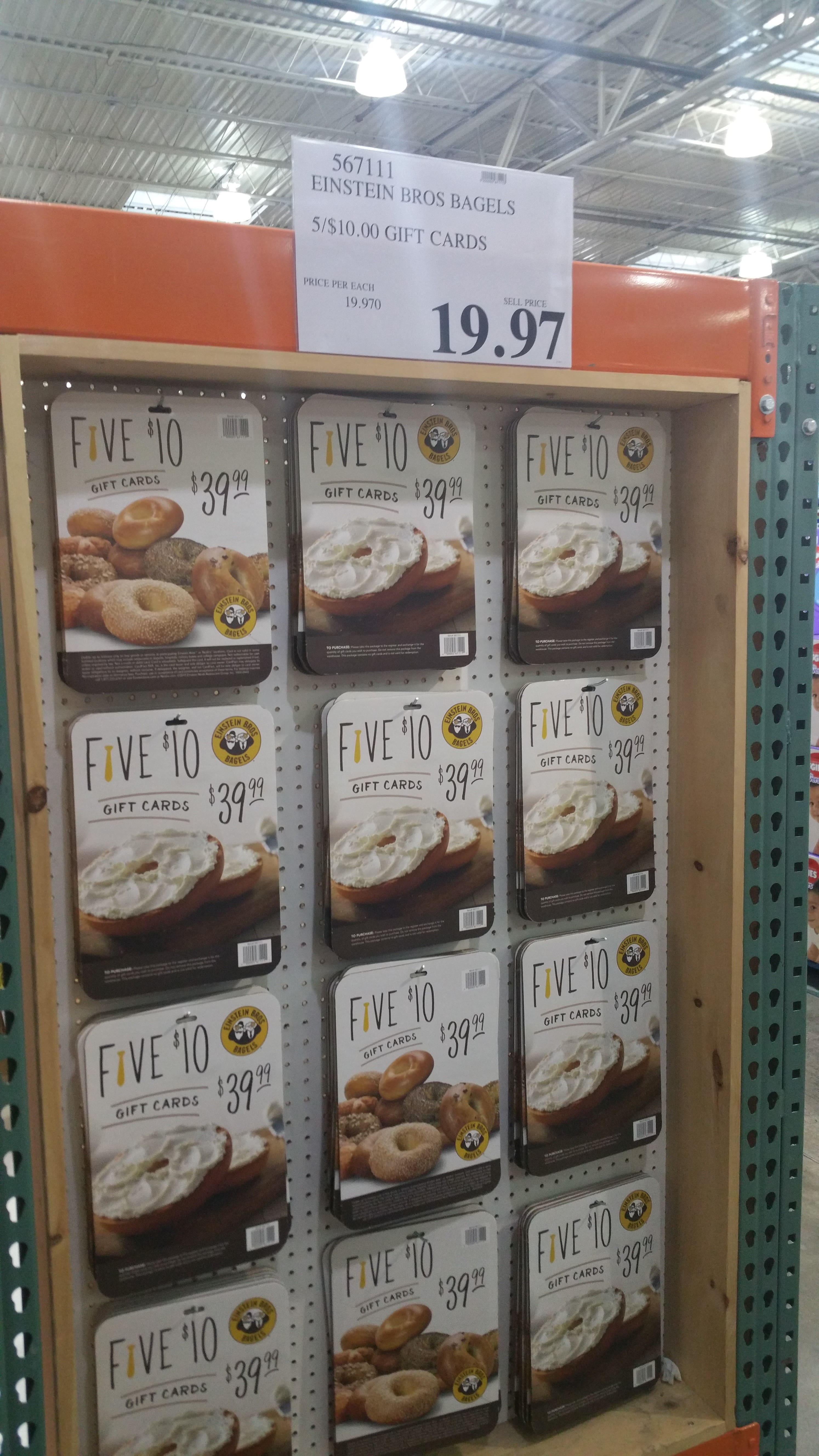 $50 worth of Einstein Bros Bagels gift cards @ Costco for $20 YMMV ...