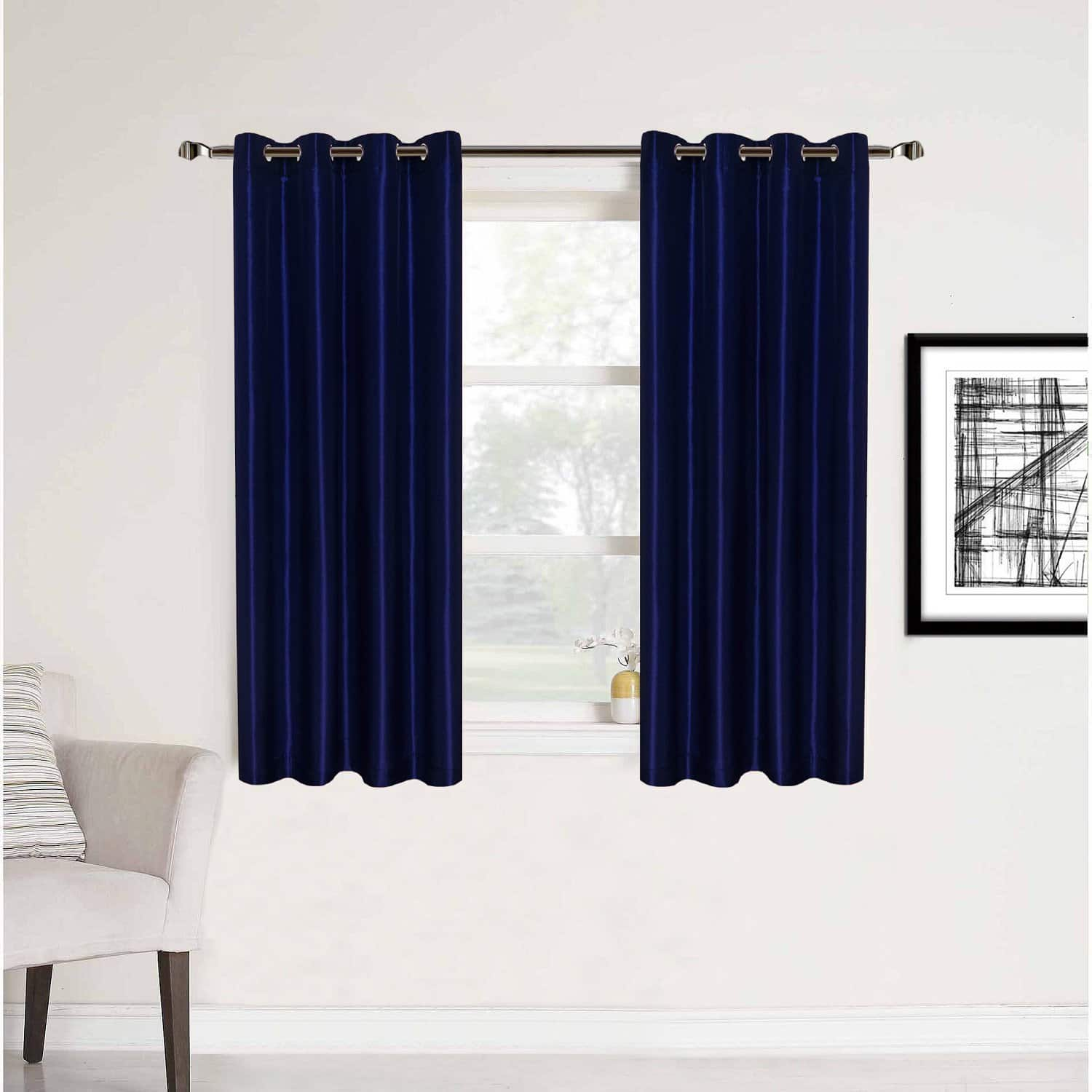 HollyHOME, 2 Panel Room Curtains, Blackout / Thermal Insulated, Navy Blue, 52x45 Inch $8.24