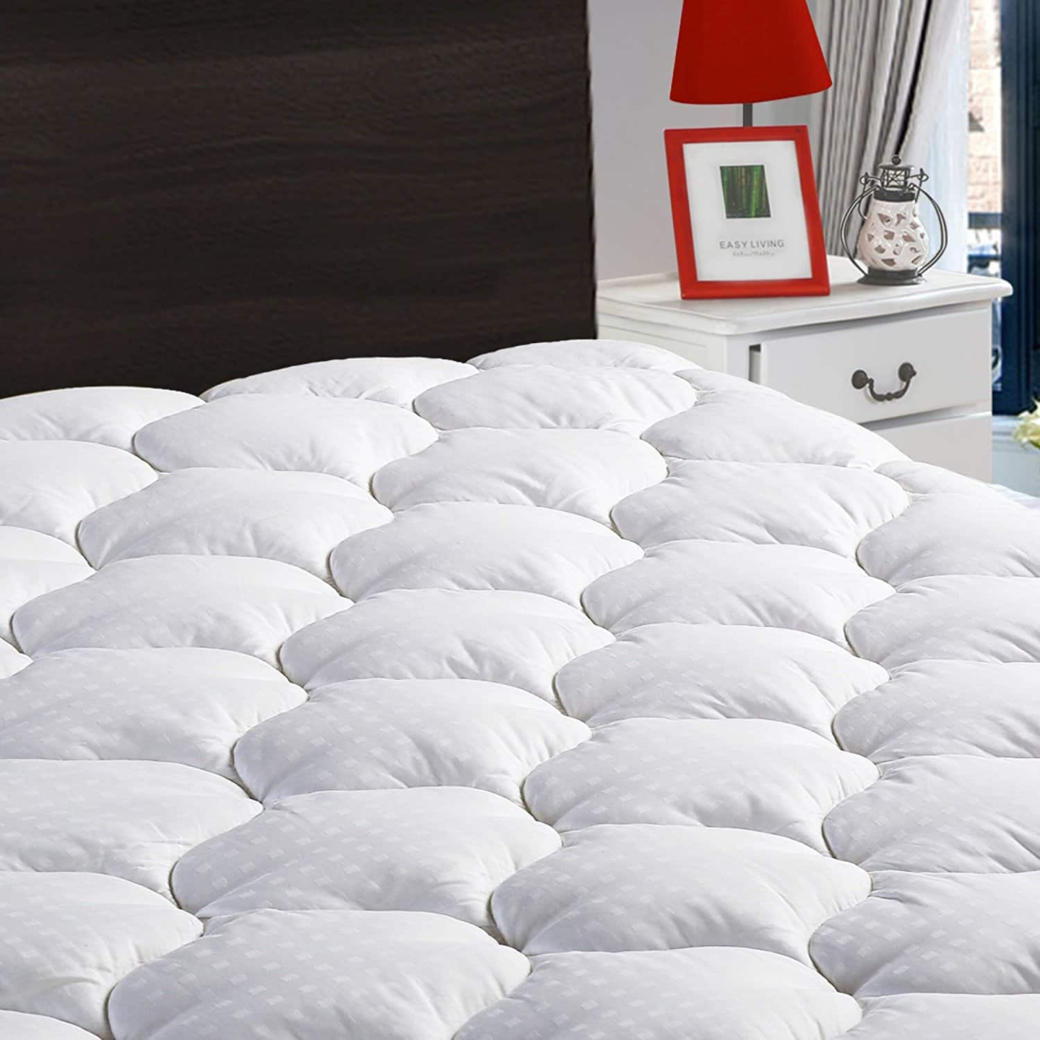"""Overfilled Mattress Pad Cover /Topper 8-21"""" Down Alternative (Twin XL, White) $29.99"""