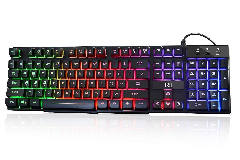 Rii RK100+ Multiple Color Rainbow LED Backlit Large Size USB Wired Mechanical Feeling Multimedia Gaming Keyboard - $10