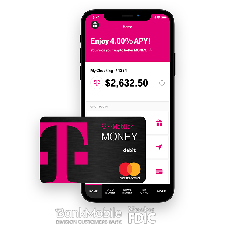 T-mobile Money bank account 4% APY for up to $3,000 for T-Mobile post-paid wireless customers and 1% APY above $3,000 or for non T-Mobile post-paid wireless customers.