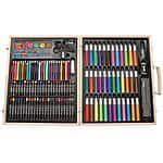 Darice ArtyFacts Portable Art Studio, 131-Piece Deluxe Art Set With Wood Case $18.65