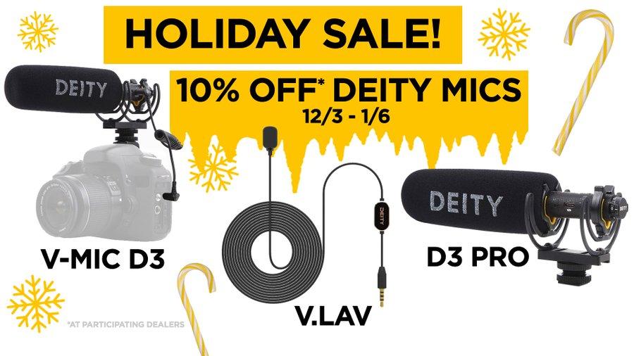 Deity V-Mic D3 Pro $149.99.. Deity Microphones 15% off pro, 10% off other microphones + Google Shopping DECSAV19 20% off.