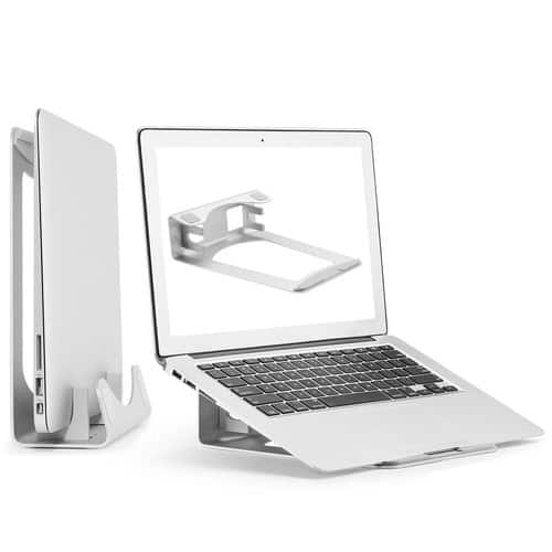 Laptop Stand Holder - Aluminum MacBook Stand, 2 in 1 Vertical Support for MacBook Pro/Air, Apple Notebooks, Save Space $17.49