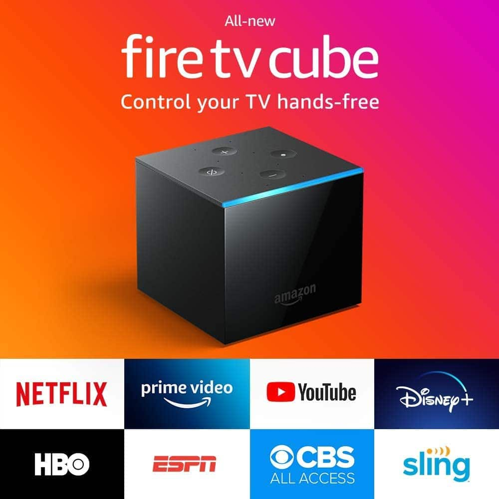 Fire TV Cube, hands-free with Alexa built in, 4K Ultra HD, streaming media player, released 2019 [Fire TV Cube] $99.99