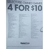 GameStop Deal: Gamestop select Pre-Owned games 4 for $10 (list included)