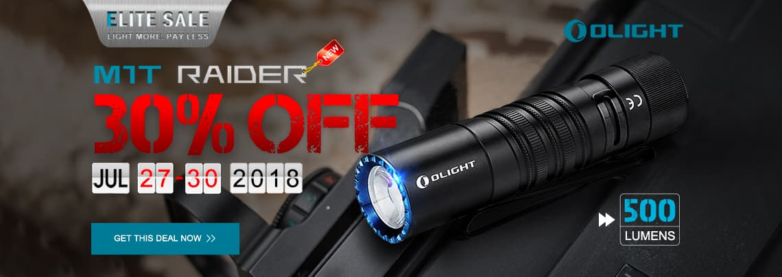 Olight Flashlight Sale, M1T Raider $27.99, Everything else 20% off, and some 45% off flash sales