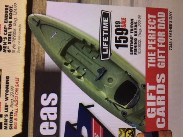 Lifetime Triton Angler Kayak @ Farm and Fleet $159.99
