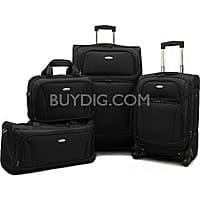 "BuyDig Deal: Samsonite 4 Piece Lightweight Set (20"" & 28"" 4 wheel Spinners, Duffel & Boarding Bag)  (Black,or Red) $149.99 + Free Shipping and more"