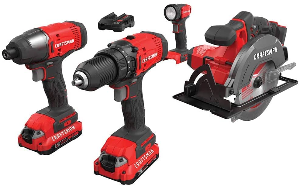 CRAFTSMAN V20 Cordless Drill Combo Kit, 4 Tool WIth Charger and 2 Batteries for $150