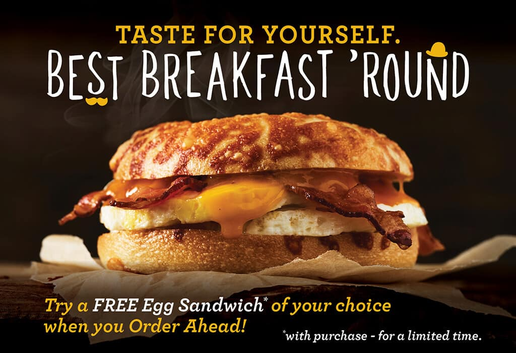 Free Egg Sandwich w/ Any Purchase By Einstein Bros. Bagels