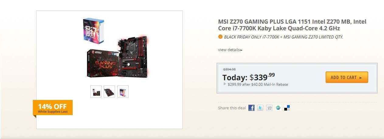 MSI Z270 GAMING PLUS, Intel Core i7-7700K $289.99