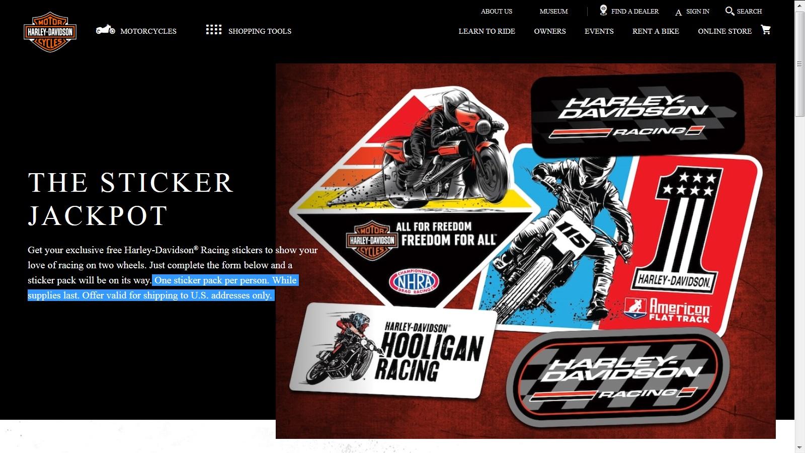 Free Harley-Davidson Racing Stickers