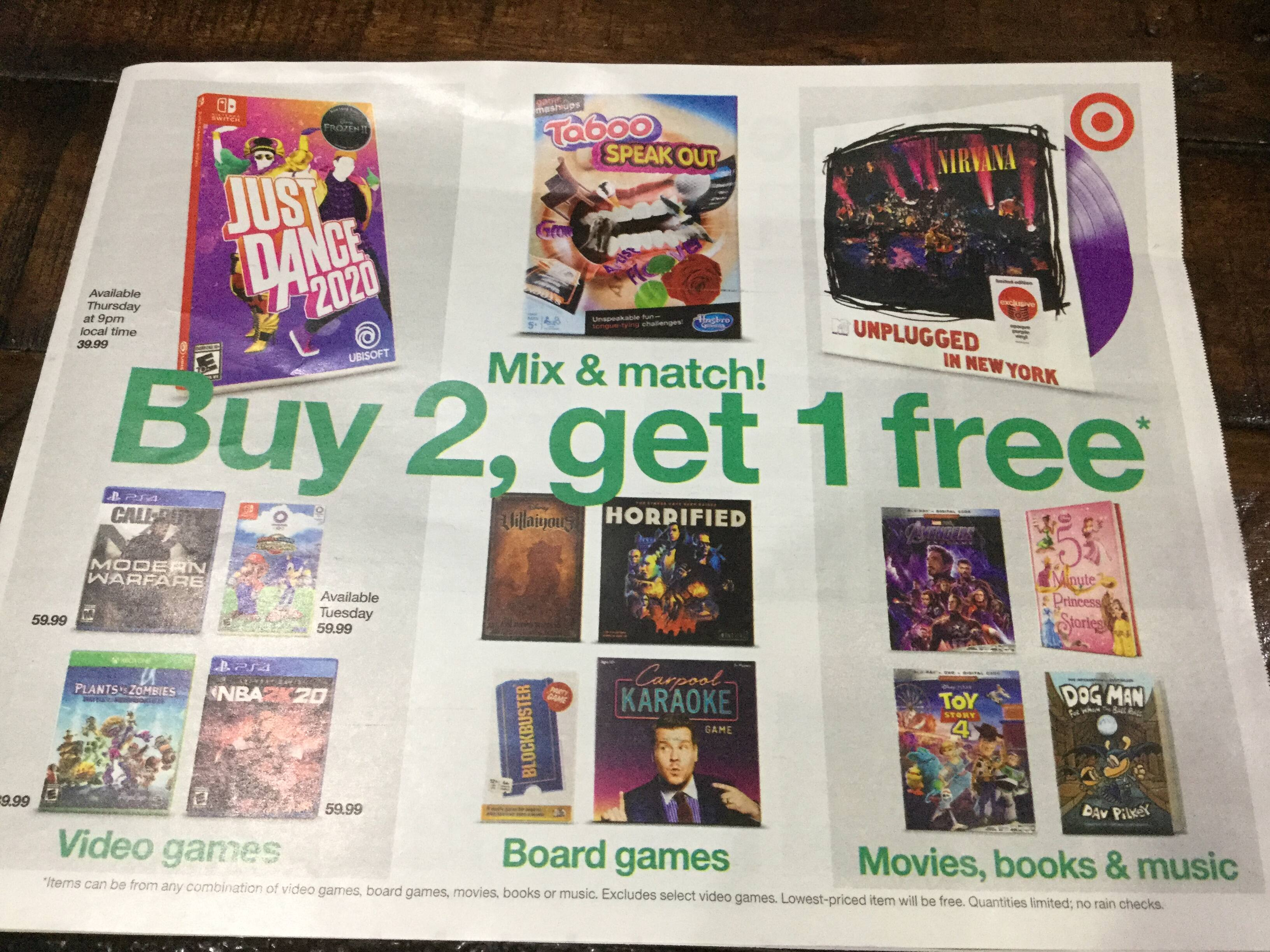 Target - B2 G1 Free - Mix&Match - Video games, board game, movies books & music - Nov 3 thru Nov 9