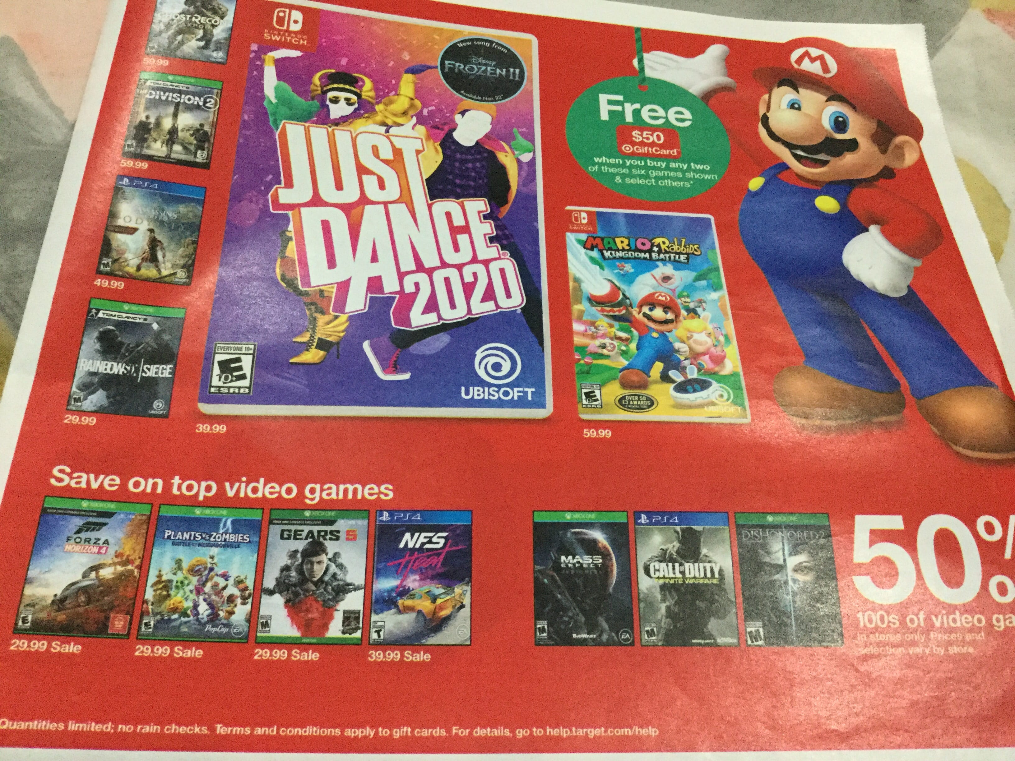FREE $ 50 Target GiftCard when you buy any 2 select games plus 50% off on 100's of video games @ Target - Dec 8 thru Dec 14