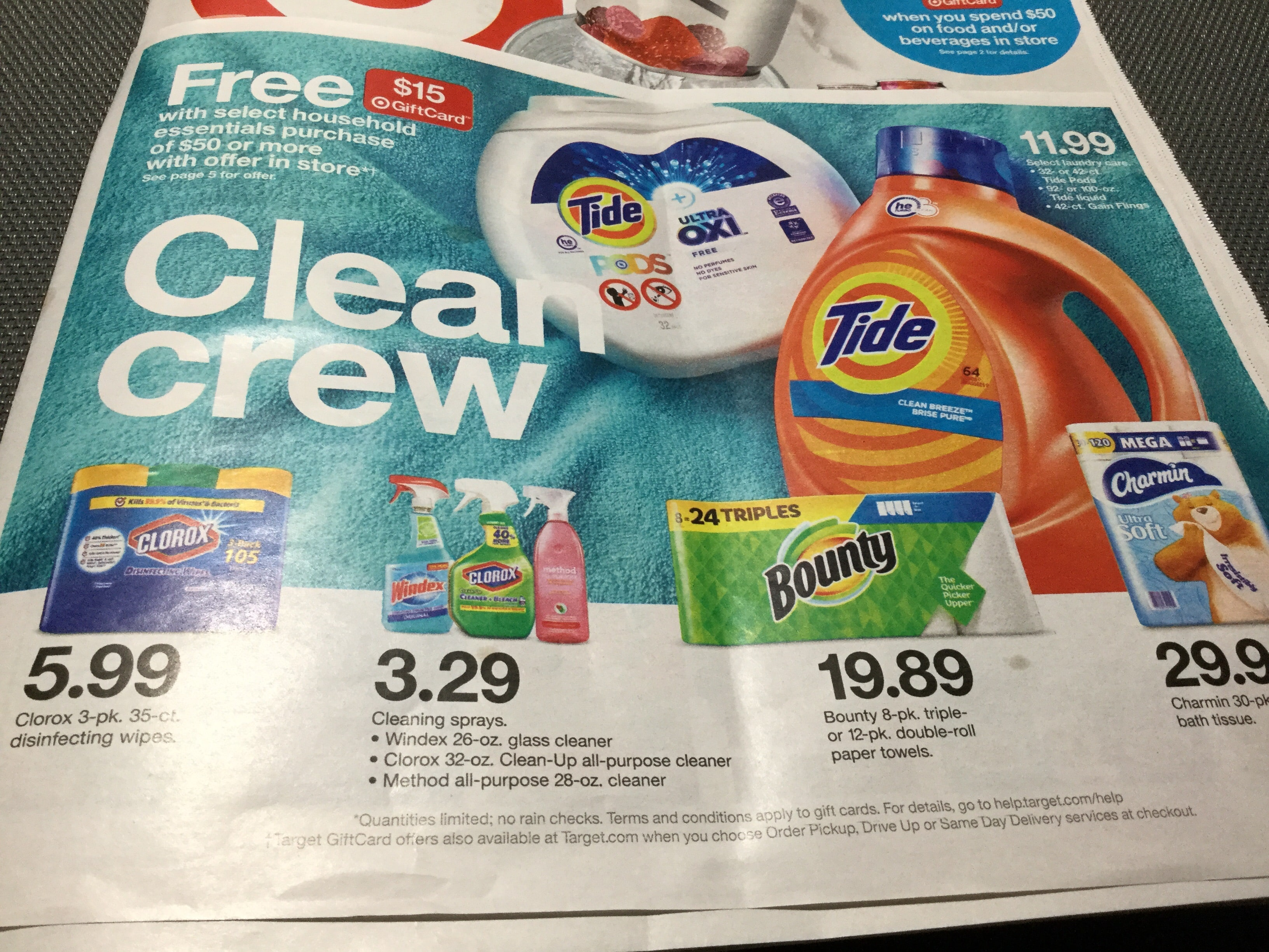 FREE $ 15 Target GiftCard w/ household essentials purchase of $ 50 or more - starting Sun Dec 29 thru Jan 11