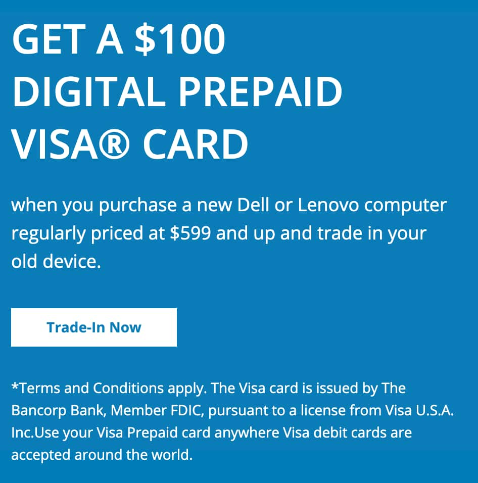 Staples - Trade in old PC (any condition), get $100 prepaid visa card when you buy select PC - In store only