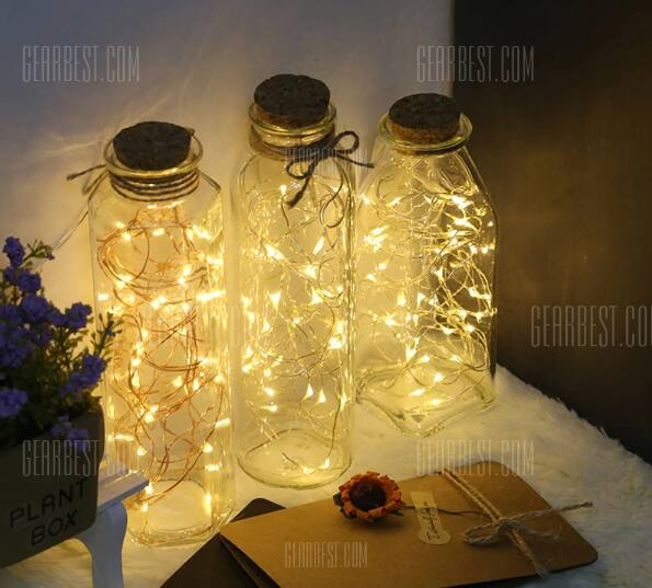 16.5' 50 warm white micro LED string light - battery powered + Free Shipping $0.99