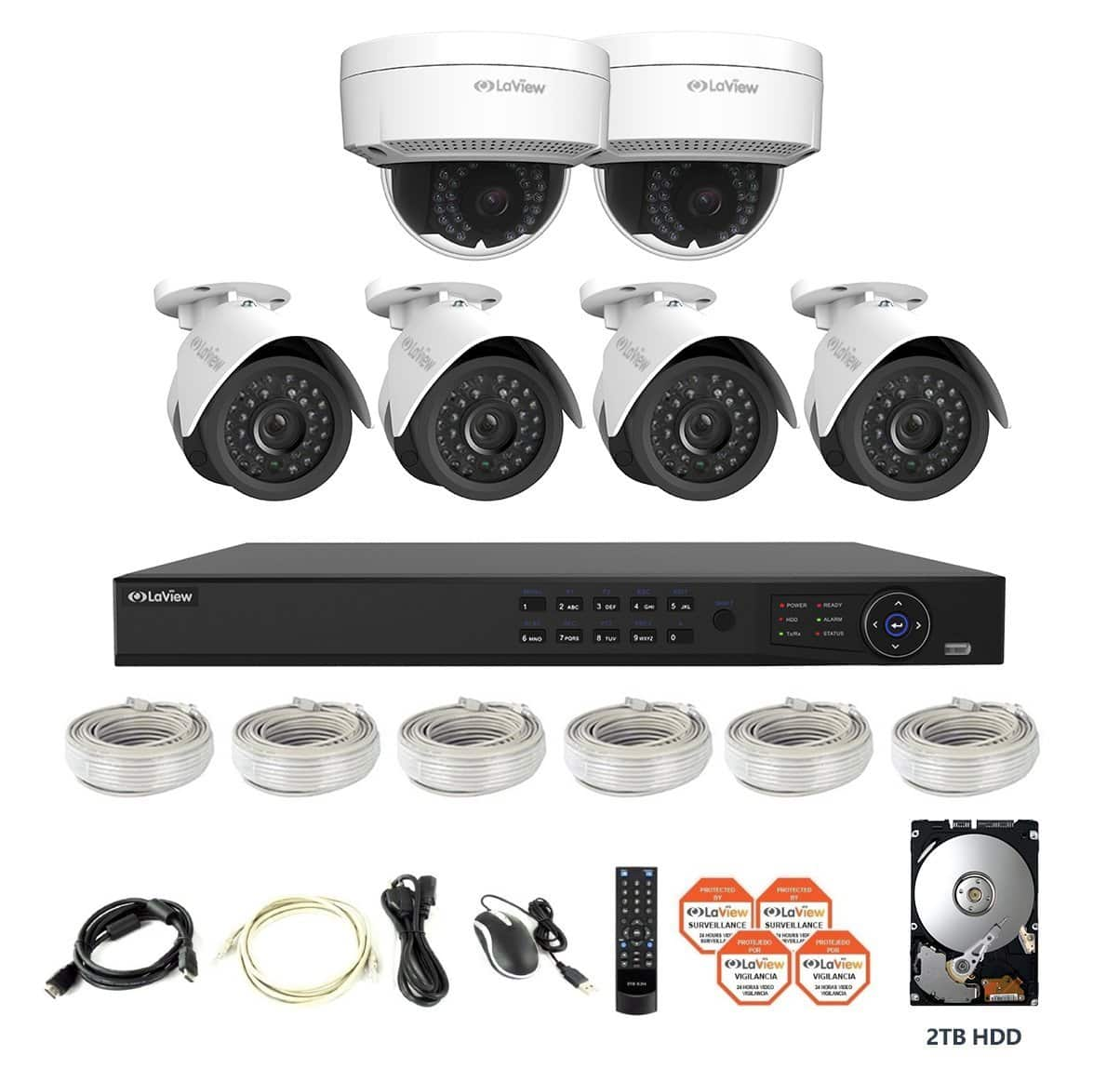 LaView 6 IP Camera Security System 1080P  PoE 8 CH ONVIF NVR w/2TB HDD & 4 Bullet, 2 Dome 2MP Cameras $415.00 Free Shipping