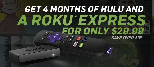 FREE Roku Express with 4 Months HULU service @ $4.99 with Amex Promo