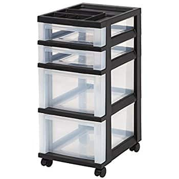 IRIS 4-Drawer Rolling Storage Cart with Organizer Top, Black $16.31 FS with Prime