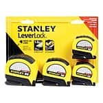 Stanley Leverlock tape measures 4pk (2x12', 16', 25') $9.99 @ Ace Hardware