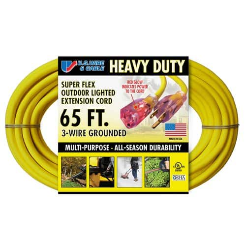 US Wire and Cable Heavy Duty 14/3 65\' Lighted Extension Cord, Yellow ...