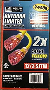 2 pack 12/3 lighted end outdoor 50ft extension cords Costco B&M YMMV - $29.97