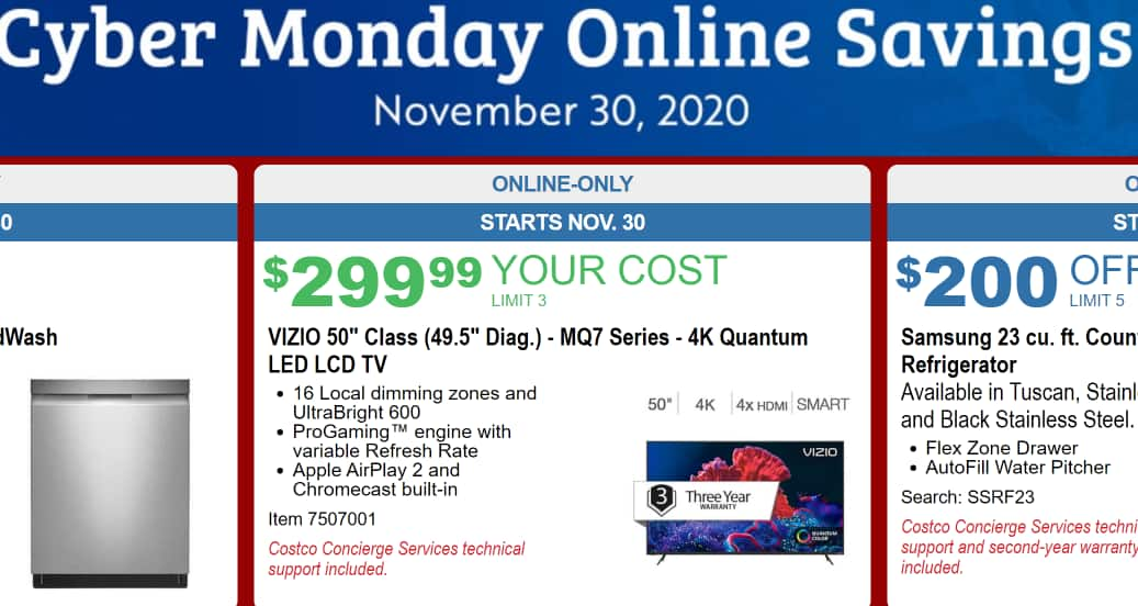 Vizio M series 50 inch M50Q7-H1 $299.99 at Costco only on 11/30 cyber Monday