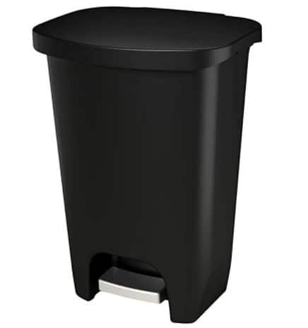 GLAD GLD-74030 Plastic Step Trash Can with Clorox Odor Protection of The Lid | 13 Gallon, 50 Liter, Black $18