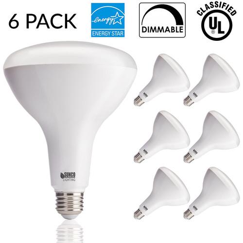 Sunco Lighting 6 Pack BR40 LED 17 watt (100W equivalent), 3000K Warm White, Dimmable, Indoor Outdoor lighting, 1400 Lumens, Flood Light Bulb UL Energy Star Listed $30