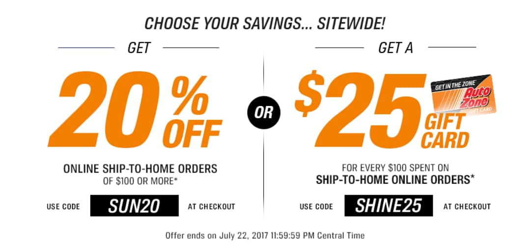 AutoZone 20% off or $25 GC for orders over $100 online! Ends 07/22