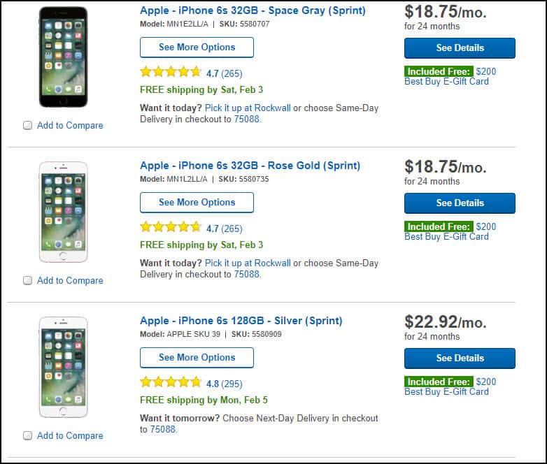 Free $200 GC at Best Buy with an iPhone 6s New Contract w/ Sprint