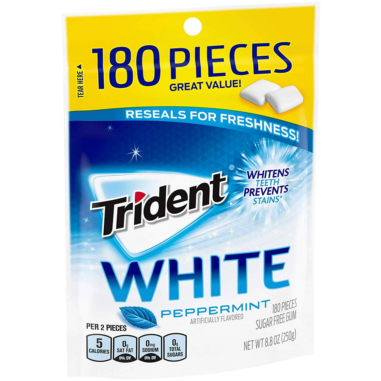 Amazon: 4 x 180 Count Trident White Sugar-Free Gum (Peppermint) $6.68 or Lower w/ S&S